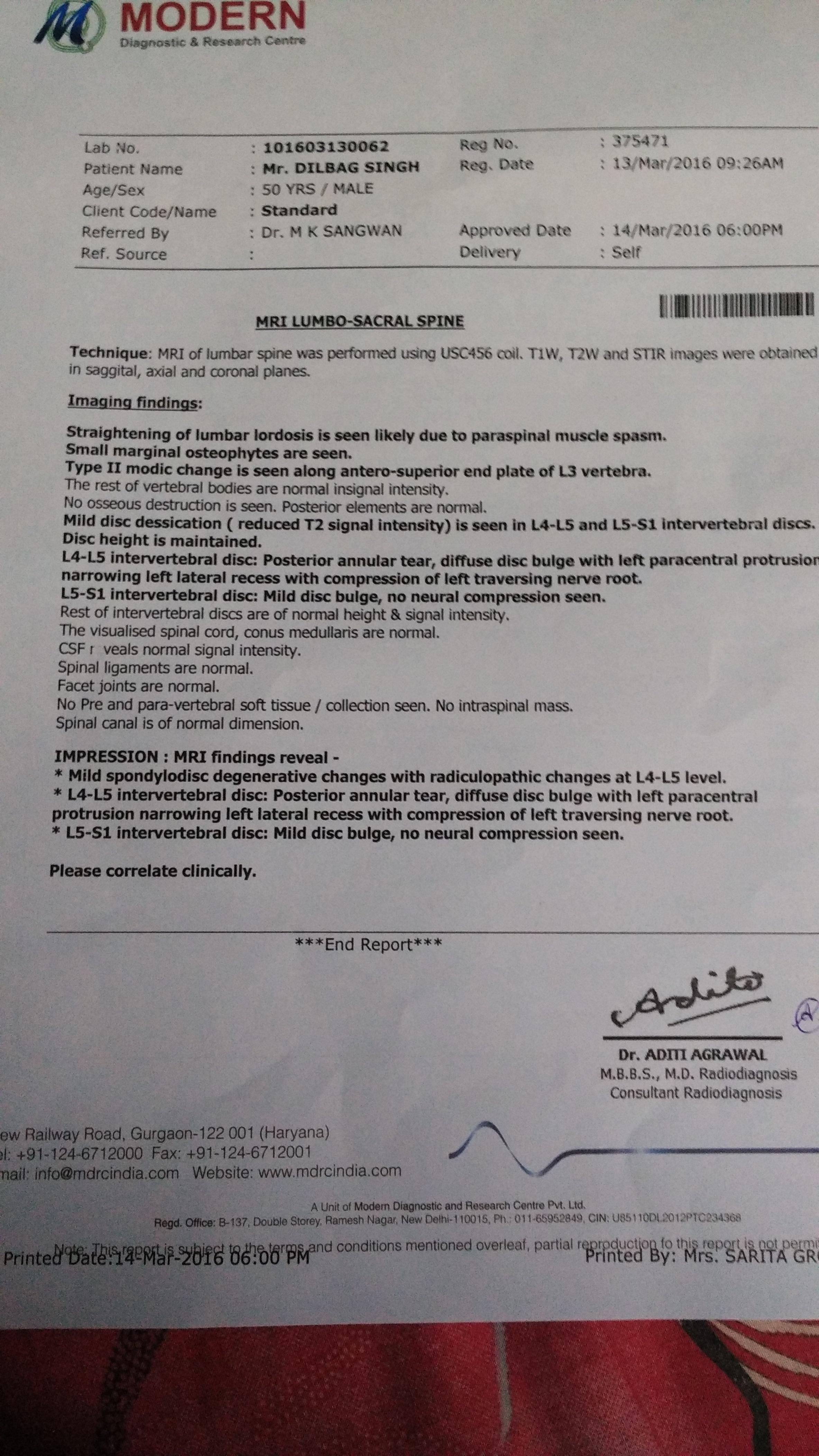 Ayurvedic Treatment for L4-L5 disc bulge annular tear